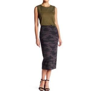 Sanctuary Camo Ponte Pencil Midi Skirt